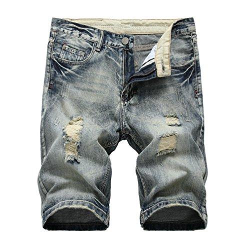 Pantaloni Grigio Stile Corti Da Pantaloncini Spiaggia Uomo Jeans Patchato Strappati Elasticizzati Yiiquan Distrutto R7wY4U