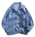 Papijam Mens Casual Faded Distressed Loose Fit Outdoor Denim Jackets Light Blue Small