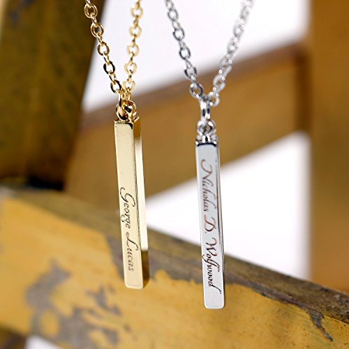 Heather Moore Charm Necklace (Men's Vertical Bar Custom Necklace- Handstamped or Engraving 16K Gold Silver Plated Personalized Square Stick Bar Necklace for Men - Hand-Stamped Plate or Pendant Necklace Gift for)