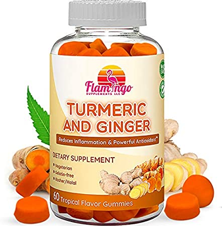 Turmeric Curcumin & Ginger Chewable Gummies for Adults and Children. Anti Inflammatory Supplement for Joint Relief. Vegan Friendly, Kosher & Halal, Gluten Free, Non GMO. 60 Count