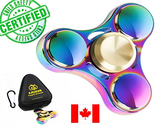 Premium Quality Fidget Spinner Metal Super-Fast & Long Smooth Spin Time 3-6 Minutes Rainbow Multicolor Colorful Zinc Alloy EDC, Best Gift For Stress Relief & Relaxation Adults & Kids With Autism Anxiety Hand Finger Spinner with a BONUS: Zippered Hard Case by Amicus Fidget Spinner ™