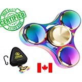 Premium Quality Fidget Spinner Metal Super-Fast & Long Smooth Spin Time 3-6 Minutes Rainbow Multicolor Colorful Zinc Alloy EDC, Best Gift For Stress Relief & Relaxation Adults & Kids With Autism Anxiety Hand Finger Spinner with a BONUS: Zippered Hard Case by Amicus Fidget Spinner