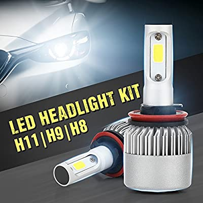 Ricoy H8 H9 H11 LED Headlights Bulbs, All-in-One Head-Lamps Conversion Kit, Car Lamp Replacement, Water-Proof Super Bright Fog Light Bulb, 80W, 8600 lm, 6000K, Xenon White, 2 Piece