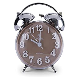 "Makimoo 4""Twin Bell Alarm Clock with Stereoscopic Dial, Silent Quartz Movement Quiet Non Ticking Sweep Second Hand Analog with Nightlight and Loud Desk Table Alarm - Brown"