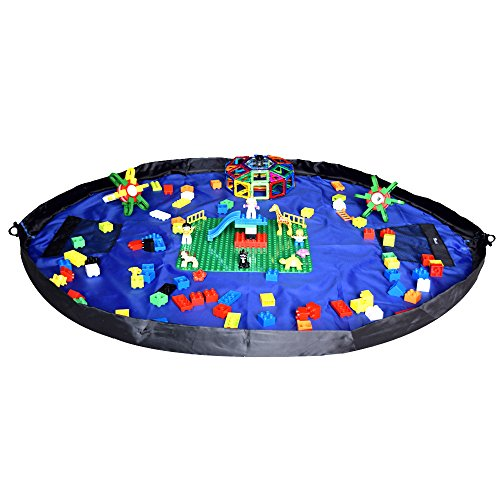 """Children's Play Mat and Toys Storage Bag - Large 58"""" Diameter - Multi Purpose Kid's Activity Mat and Toys Organizer"""