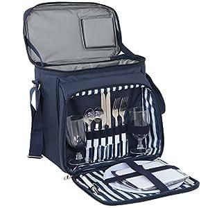 Super deal azul marino azul con aislamiento Picnic mochila bolsos con manta de Picnic para dos