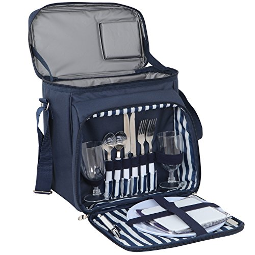 SUPER DEAL Navy Blue Insulated Picnic Backpack Picnic Totes With Blanket for Two by SUPER DEAL