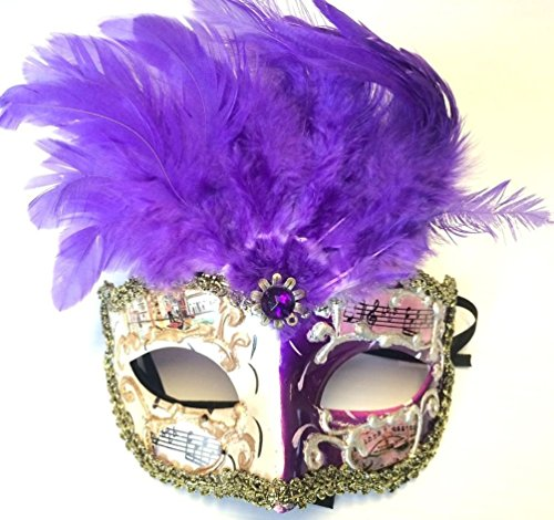 [Venetian Style Masquerade Feather Mask Halloween Music Notes Adult Men Lady] (Spider Queen Costume For Girls)