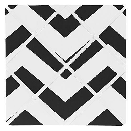 Sweet Jojo Designs Black and White Chevron Zig Zag Fabric Memory/Memo Photo Bulletin Board ()
