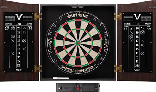 Viper Vault Cabinet & Shot King Sisal/Bristle Dartboard Ready-to-Play Bundle: Deluxe Set (Shot King Dartboard, Darts and Laser Throw Line) ()