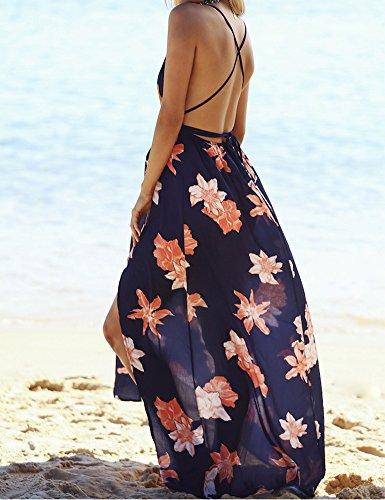 Damen Partykleid Sexy Blumen VAusschnitt gedrucktes ärmelloses ...