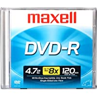 Maxell 638000 4x Write Speed Write Once Format DVD-R Compatable Superior Archival Format 4.7Gb Dvd-R 10Mm Jewelcase