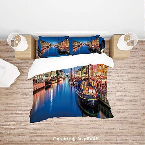PUTIEN Durable Lightweight Fabric Printing Custom Bedding Set,Entertainment District Denmark Nyhavn Canal Copenhagen River Boats Shops Attraction,Quilt Cover for Women Men -