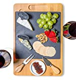 SPEShh Bamboo Slate Cheese Board Set with Cutlery and Drawer - 12pcs Large Wooden Cheese Charcuterie Serving Platter, Cutting Board with Ceramic Bowl, Knife, Marker and Chalk