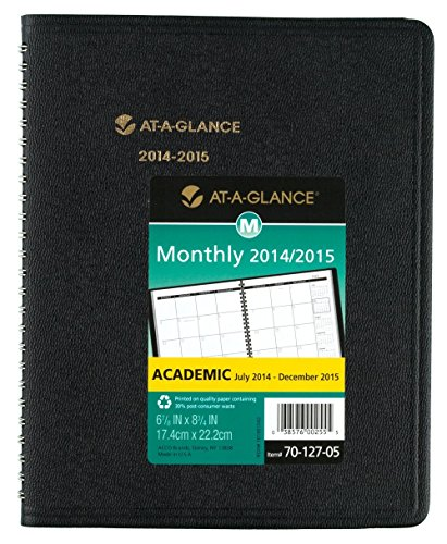 At-A-Glance Academic/Fiscal Unruled Monthly Planner W/Memo Section, 6-7/8 X 8-3/4, Black (70-127-05)
