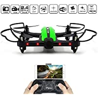 Racing Drone, FLYTEC T18D Wifi FPV Quadcopter with 720p HD Camera Live Video with App-Controlled 2.4GHz 6-Axis Gyro Auto Return VR Ready Altitude Hold Headless Mode Drones for Kids (Green)