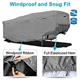 """RVMasking Heavy Duty 5 Layers 5th Wheel Cover, Fits 40'1""""-43'6"""" RVs - Breathable Waterproof Ripstop Anti-UV RV Covers with 15 PCS Windproof Buckles & Adhesive Repair"""