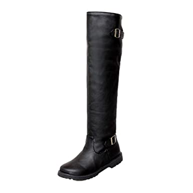 Women Ladies Girl Solid Color Non-Slip Round Toe Long Tube Martin High Boots