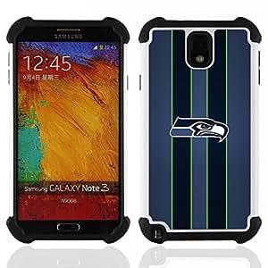 """SAMSUNG Galaxy Note 3 III / N9000 / N9005 - 3 en 1 impreso colorido de Altas Prestaciones PC Funda chaqueta Negro cubierta gel silicona suave (Seahawk Fútbol"""")"""