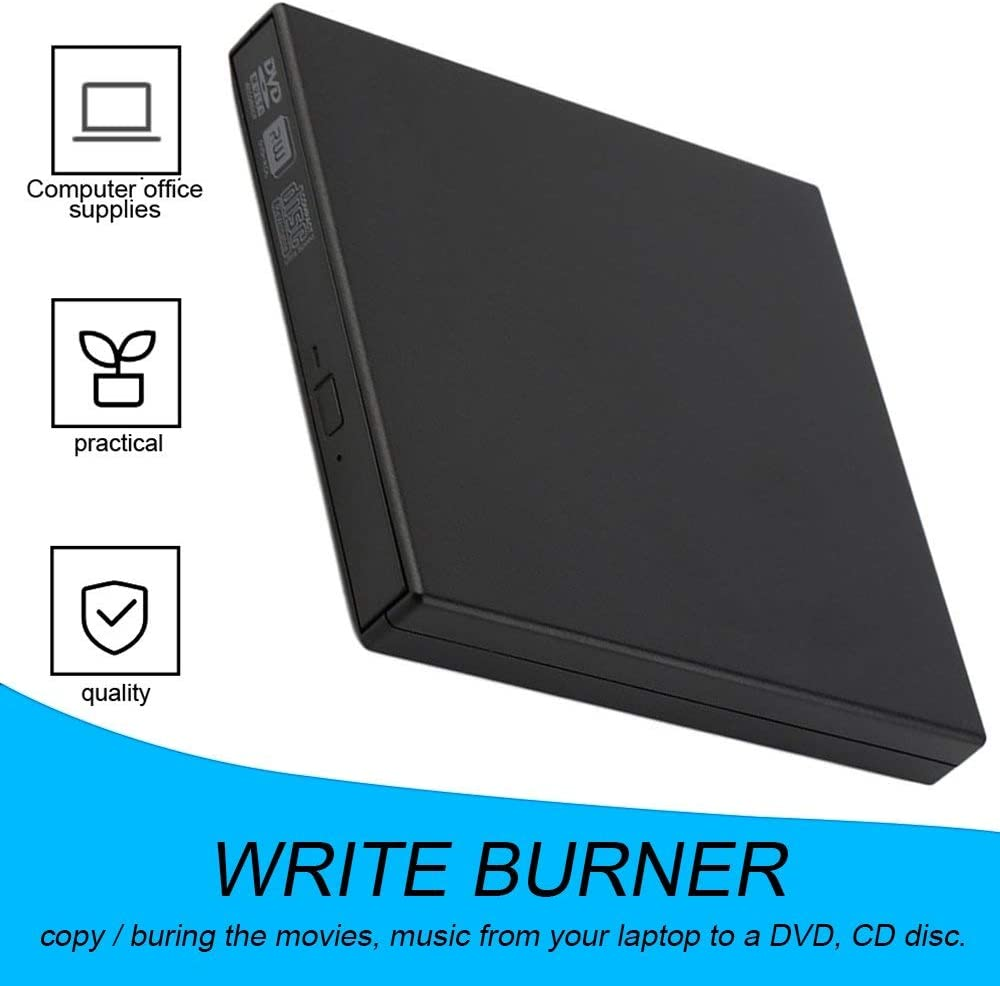 Mandalaa Black Super Slim USB 2.0 External Cd+-Rw DVD+-Rw DVD-Ram Burner Drive Writer for Laptop Pc E