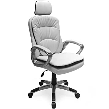 Büro Chefsessel Kunstleder weiß Bürostuhl Schreibtischstuhl Bürosessel Drehstuhl