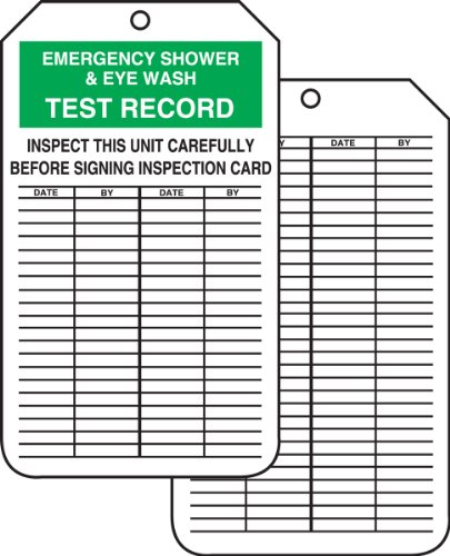 "Accuform Signs MGT207CTP Inspection Record Tag, Legend ""EMERGENCY SHOWER & EYE WASH TEST RECORD"", 5.75"" Length x 3.25"" Width x 0.010"" Thickness, PF-Cardstock, Green/Black on White (Pack of 25)"