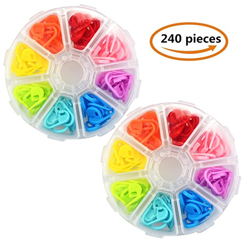 240 Pieces Knitting Crochet Locking Stitch Markers Stitch Counter Stitch Needle Clip with Compartment Box Storage Case