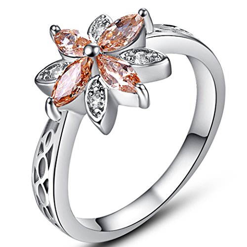 Flower Filled (Veunora 925 Sterling Silver Created Marquise Cut Morganite Filled Dainty Flower Ring for Women Size 8)