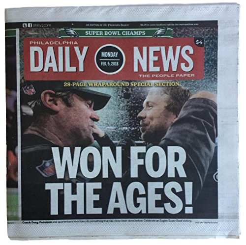 Philadelphia Eagles Feb 5 2018 Super Bowl LII Champions Daily News Full Paper from Sports Integrity