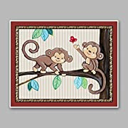 Treetop Jungle Animal Buddies Nursery Wall Art Prints (11 x14 , Monkeys)