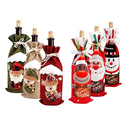 Christmas Santa Claus Wine Bottle Cover Xmas Decorating Wine Bottle Cover Bags Wine Bottle Wrap Clothes Decors Christmas Table Dinner Decoration Xmas Gift Stocking Bag Holders Xmas New Year Favors