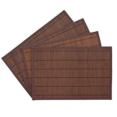 Benson Mills Bali Bamboo Placemats 12-inch x 18-inch, Chocolate, Set of 4