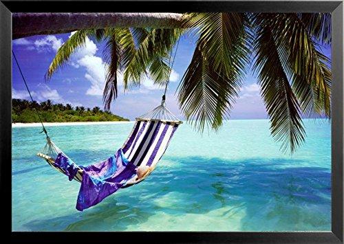 buyartforless FRAMED Tropical Beach - Hammock with Towel and Hat 36x24 Coastal Art Print Poster Romantic Beach Ocean Tropics