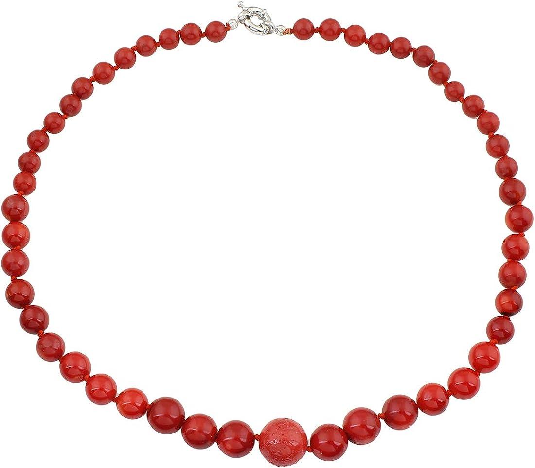 TreasureBay - Collar de coral rojo natural (8-14 mm, 48 cm)