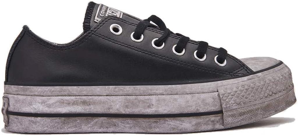 CONVERSE 562910C edición Limitada CTAS Lift Black Black Sneakers Cuero Cordones Plataforma