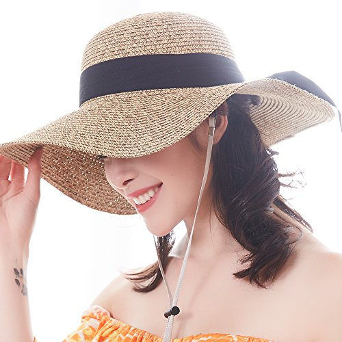 Yarn Sahara (FURTALK Sun Women Straw Hat UPF 50+ Beach Finshing Hats For Women Bucket Hat With Neck Cord)