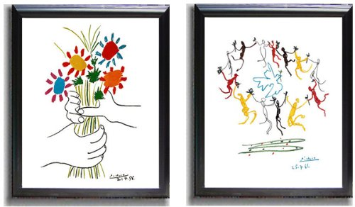 Dance of Youth and Petite Fleurs by Picasso 2-pc Black-Framed Canvas Set (Ready-to-Hang) - Picasso Petite Fleurs