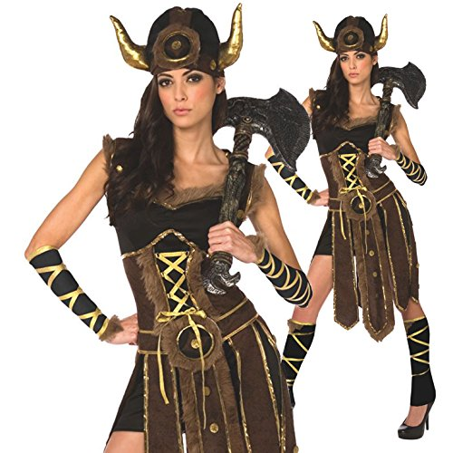 [Womens Nordic Viking Battle Fancy Dress Costume - 3 Piece Quality Costume] (Fantastic 4 Costume Uk)
