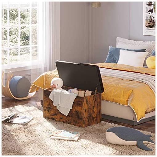 Entryway Rolanstar Storage Bench, Flip Top Storage Ottoman, Bed End Stool with Padded Seat, Toy Storage Chest for Entryway…