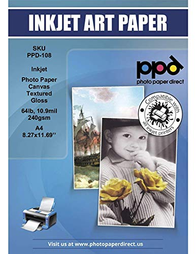 PPD Inkjet Glossy Canvas Textured Heavyweight Photo Paper A4 (8.27x11.69'' similar to 8.5x11