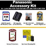 8GB Accessory Kit For Panasonic Lumix DMC-FZ35 fz28 fz25 DMC-FZ7, DMC-FZ50 & DMC-FZ30 Includes 8GB Secure Digital High Capacity (SDHC) Card + CGR-S006 Extended Replacement Battery + Rapid AC/DC Charger Card Reader + LCD Screen Protector + More