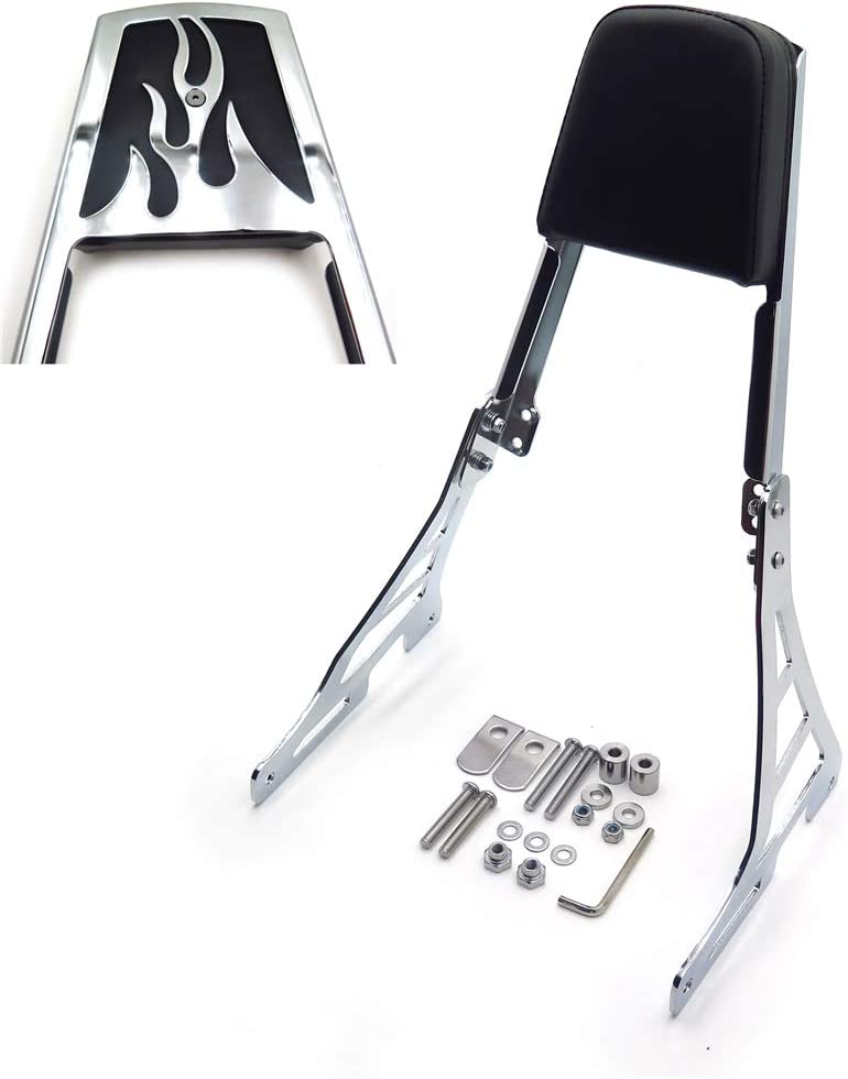 HTT Group Motorcycle Black Skull Style Backrest Sissy Bar with Leather Pad For Harley Davidson Sportster Xl883C XL883R XL1200R XL1200C XL1200S XLH883 XLH1200