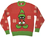 Looney Tunes Marvin The Martian Elf Dressed Red Ugly Christmas Sweater (Adult Small)
