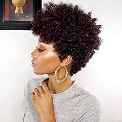 WIGNEE Remy Human Hair Afro Curly Short Style Wigs (Burgundy)