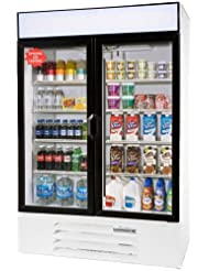 Beverage-Air MMR44-1-W-LED MarketMax 47 Two Section Glass Door Reach-In Merchandiser Refrigerator with LED Lighting 45 cu.ft. Capacity White Exterior and Bottom Mounted