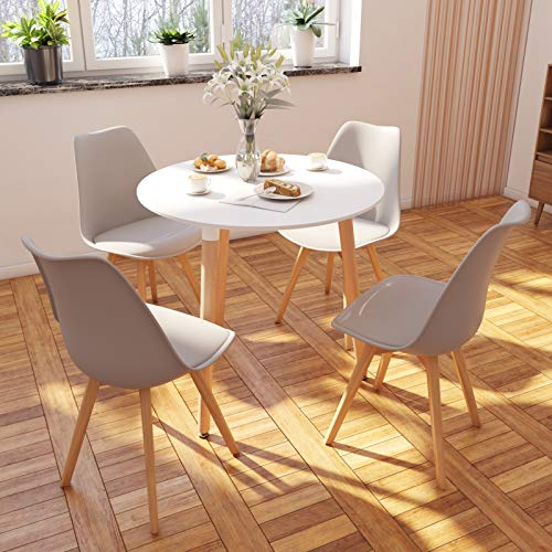 Jeffordoutlet Dining Table And Chairs Set Of 4 Modern Round Dining Set Home Kitchen Living Room Furniture White Round Table Grey Chairs Buy Online In Cayman Islands At Cayman Desertcart Com Productid 166076302