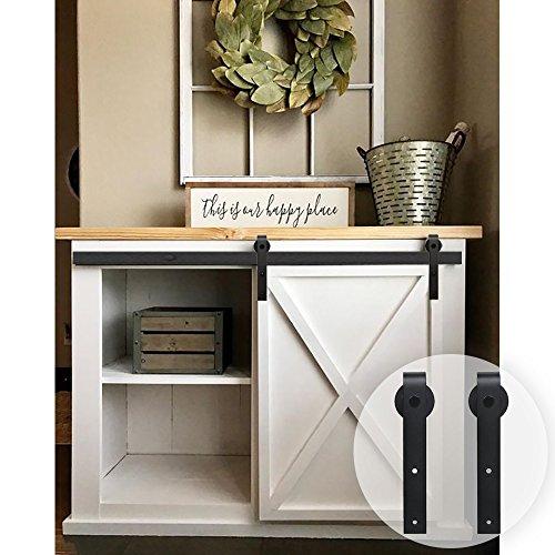WINSOON 3 ft Mini Single Barn Door Hardware Kit for Cabinet Wardrobe and TV Stand, Small J Shape Roller - Single Hole Cabinet Kit