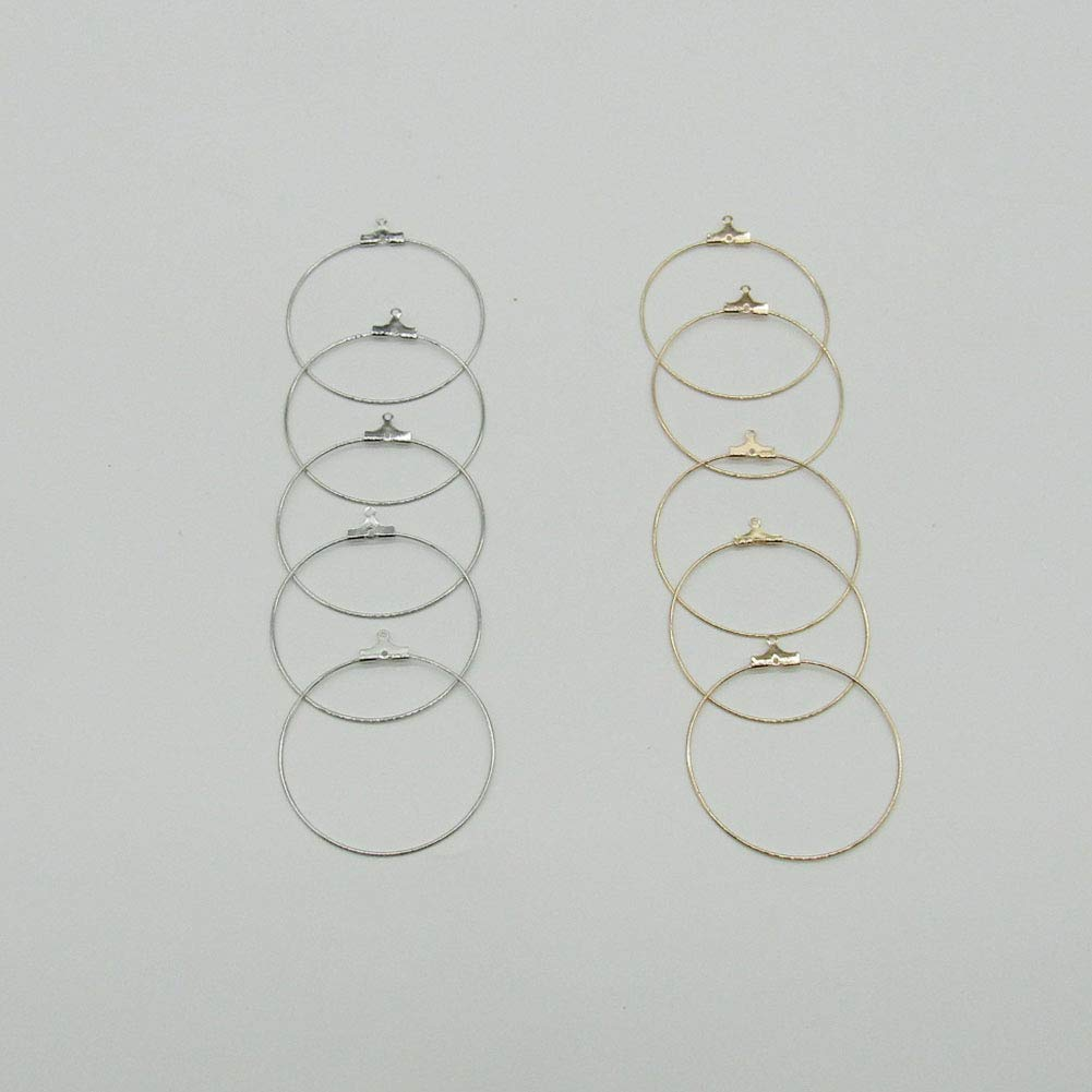 Gold Silver 24 Pcs 40 mm Shaped Beading Hoop Earring Finding Ring Hoop for Earring Jewelry Making
