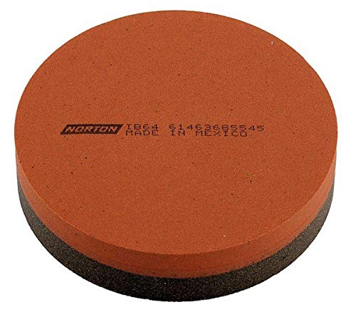 Norton 61463685545 (IB64) India AO Combination Grit Sharpening Benchstone, Aluminum Oxide Abrasive, Coarse/Fine Grits, Orange/Brown Colors, 4