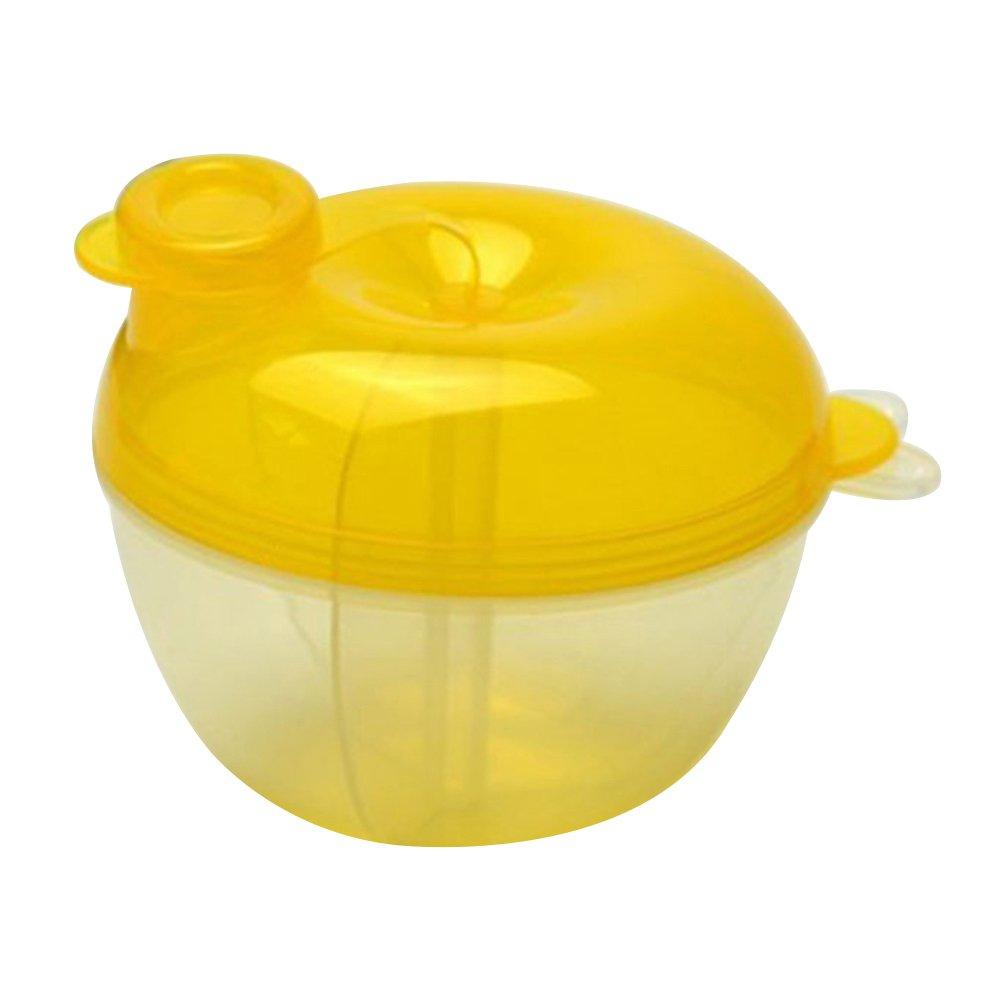 3 Interlayer Dispenser Food Storage Snack Container Baby Feeding Travel Milk Powder Box Food Bottle Container size Apple (Yellow)